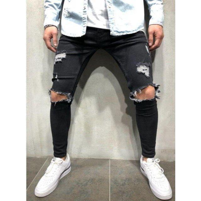 サイズが選べる ダメージデニム ダメージジーンズ ブラック 黒 ジーンズ メンズのパンツ(デニム/ジーンズ)の商品写真