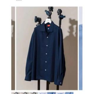 サンシー(SUNSEA)のmaison special オープンカラーシャツ ネイビー(シャツ)