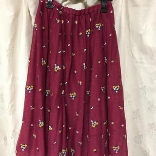 ダズリン(dazzlin)のローズレッド チュールレーススカート(ひざ丈スカート)