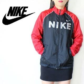 NIKE - 【激かわ♡】NIKE 赤 × 黒 BIGロゴ ナイロンジャケット 長袖ジャージ