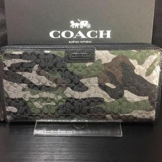 COACH - プレゼントにも❤️新品コーチ正規品ミニシグ織カモフラ ラウンドファスナー長財布