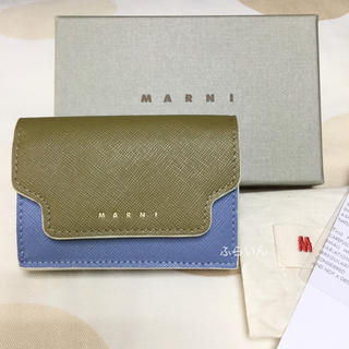 マルニ(Marni)の【新品】マルニ  三つ折り財布  ミニ財布  カーキ系(財布)