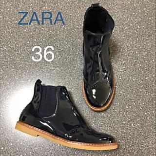 ZARA KIDS - ZARA☆36☆サイドゴア ブーツ☆珍しいエナメル素材♡オシャレ♪(´∀`*)
