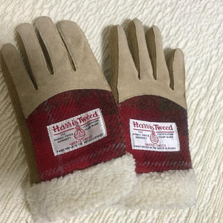 ハリスツイード(Harris Tweed)のハリスツイード 手袋 しまむら ボア ベージュ チェック(手袋)