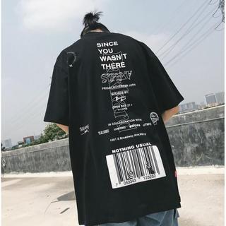 ☆大流行中☆ 韓国ファッション ビックシルエット Tシャツ ロゴ 男女兼用 (Tシャツ/カットソー(半袖/袖なし))