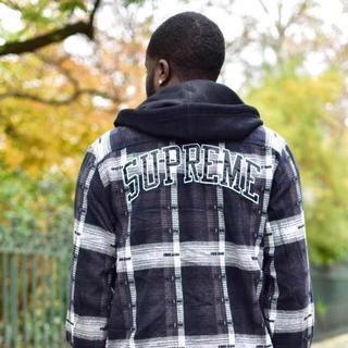 Supreme - 【M】Supreme Hooded Jacquard Flannel Shirt