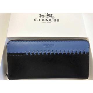 COACH - 新品未使用品★コーチ スポーツカーフレザー 長財布 75209 ブルー×ブラック
