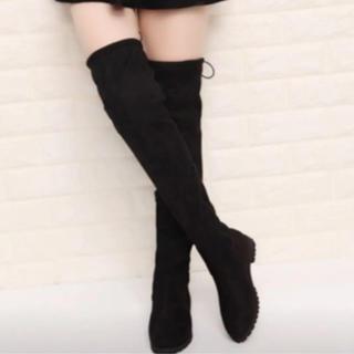 新品  ストレッチ スエード ブーツ 23.5センチ 黒(ブーツ)