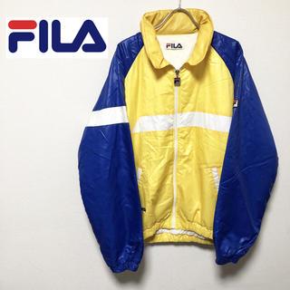 フィラ(FILA)の90's FILA フィラ 中綿ナイロンジャケット ロゴ イエロー ブルゾン(ナイロンジャケット)