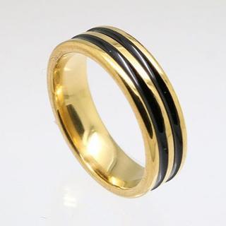 ブラック2ラインステンレスリング ゴールド 17号 新品(リング(指輪))