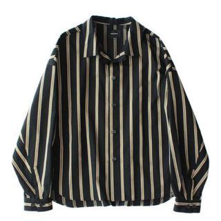 STUDIOUS - Big shirt jacket - Tencel stripe / Black