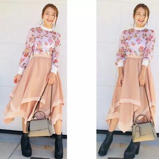 Lily Brown - リリーブラウン 異素材ヘムラインスカート ピンク
