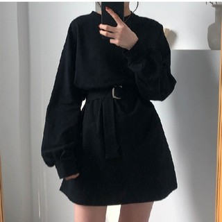 128*韓国ファッション好きに◎ボリューム袖 ベルト付き ストリートワンピース