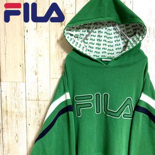 フィラ(FILA)の【激レア】フィラ☆ビッグロゴ刺繍入りパーカー フードインナーロゴ グリーン XL(パーカー)