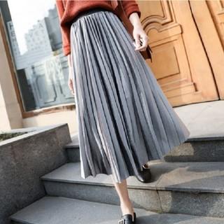 dholic - 今年人気のベロア調 プリーツスカート ロングスカート ベロアスカート 即日発送