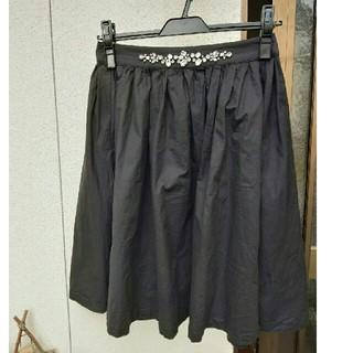 mysty woman - ビジュー スカート 黒 ギャザースカート