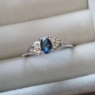 86 昭和レトロ 色硝子リング 藍色 ディープブルー 指輪 アンティーク(リング(指輪))