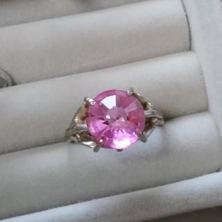 106 昭和レトロ 色硝子 ミラーボールカット野菜 ピンク 指輪 ヴィンテージ(リング(指輪))