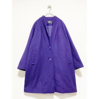 トーガ(TOGA)のvintage ヴィンテージ レトロ メルトンウール 紫 変形 デザインコート(ロングコート)
