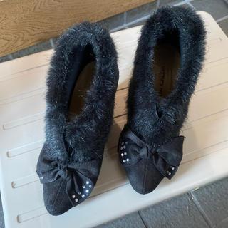 ニッセン(ニッセン)の21.5cm 黒スエード調♡可愛いパンプス(ハイヒール/パンプス)