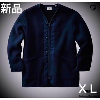 エンジニアードガーメンツ(Engineered Garments)の新品 ユニクロ エンジニアードガーメンツ フリースノーカラーコート ネイビーXL(ノーカラージャケット)