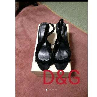 ディーアンドジー(D&G)の大人綺麗めD&Gレースサンダル black(サンダル)