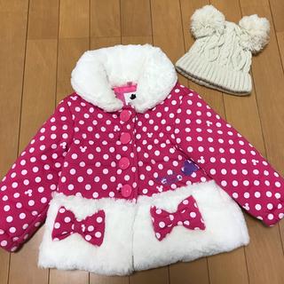 ディズニー(Disney)のありんこさん専用♡ミニーちゃんコート 90cmとニット帽 49cmまとめ売り♡(コート)