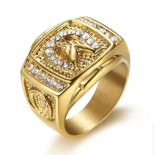 ゴールドマイクロパヴェラインストーン馬リング合金CZのメンズ用リング(リング(指輪))