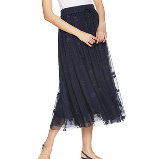 Mila Owen - 《新品タグ付き》ミラオーウェン チュール透け刺繍スカート ネイビー