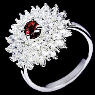 新品★特価1月誕生石★16号 永久の愛 七色の輝き 天然ガーネット指輪(リング(指輪))