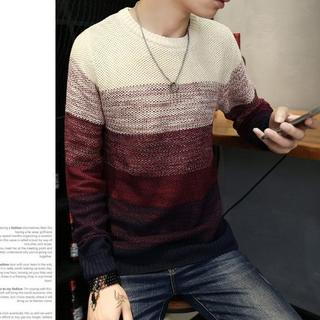 M L XL【新品】赤 セーター メンズ ボーダー メンズ 冬服 長袖 ニット(ニット/セーター)
