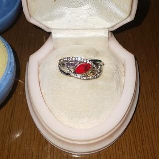 ファッションリング  赤 ジルコニア  14号(リング(指輪))