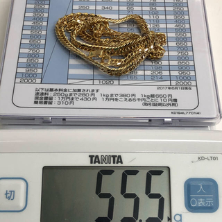 K18 55g 8面トリプル喜平ネックレス