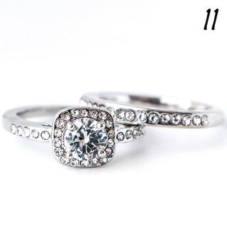 W1 リング 11号 2連 人工石 ホワイトサファイア ラウンド(リング(指輪))