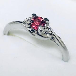 K18WG ピンクの石の指輪(リング(指輪))