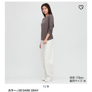 ユニクロ(UNIQLO)のユニクロ ヒートテックストレッチフリースクルーネックT ダークグレー XL(Tシャツ(長袖/七分))