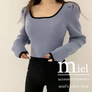 dholic - pastel blue puff sleeve knit/パステルブルーニット