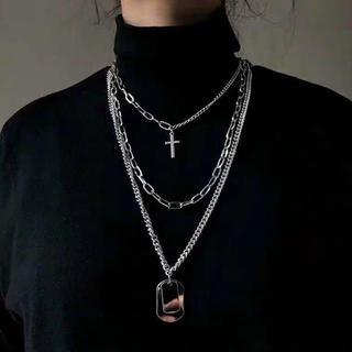 韓国ファッション シルバークロスネックレス 十字架