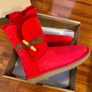 アグ(UGG)のUGG アグ ムートンブーツ 赤 レッド 24cm(ブーツ)