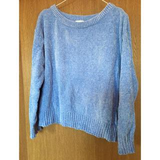 ジーユー(GU)のブルー クルーネックニット セーター(ニット/セーター)