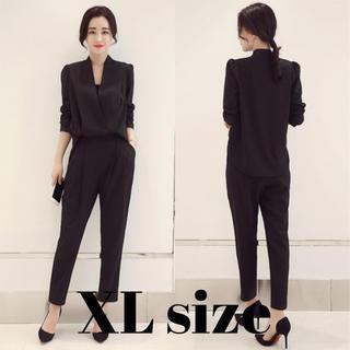 レディース パンツ スーツ ドレス オールインワン 風 ブラック XLサイズ