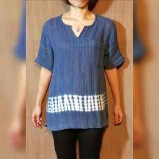 藍染 手織り シャツ ハンドメイド(Tシャツ(半袖/袖なし))