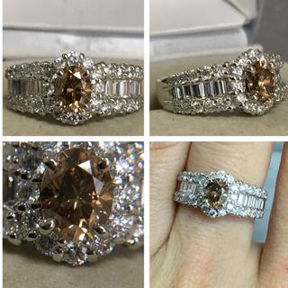 Pt900 1.08 0.572カラット 綺麗なブラウンダイヤモンドリング(リング(指輪))