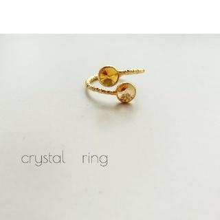 『オレンジ&イエロー』の小さなcrystalリング(リング(指輪))