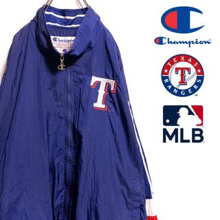 チャンピオン(Champion)の〔激レア〕90s チャンピオン MLB レンジャーズ ナイロンジャケット 刺繍(ナイロンジャケット)