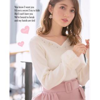 tocco - 煌めく胸元ビジュー装飾つき袖ファーニット♡アプワイザーリッシェ、リランドチュール