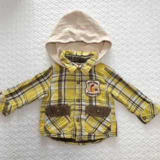 ビケット(Biquette)のBIQUETTE 80cm ベビー チェックシャツ  フード付(シャツ/カットソー)