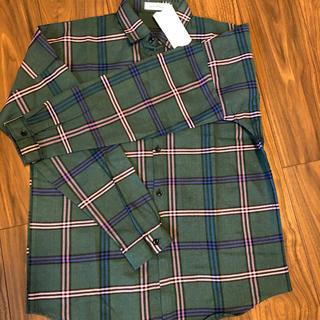 チェックシャツ☆オーバーサイズ ビッグシルエット(グリーン)XL   gp(Tシャツ/カットソー(七分/長袖))