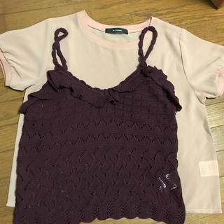 ダブルクローゼット(w closet)の新品未使用キャミニットプルオーバーとシースルーTシャツ(Tシャツ(半袖/袖なし))