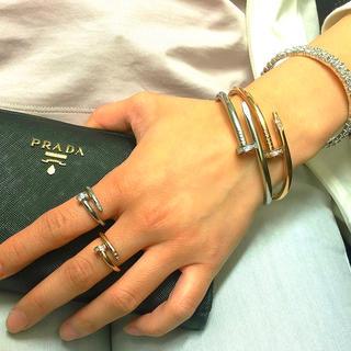 340★ 18k金ダブルコーティング5Aランクスワロ釘ブレス&リング( ¨̮ )(リング(指輪))